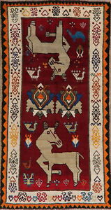 Animal Pictorial Gabbeh Oriental Area Rug 4x8 Wool Hand Knotted Childrens Carpet