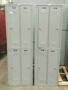 Lyon Vertical Double Storage Locker Cabinet W 4 Compartments 26 X 21 X 84 h