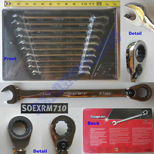 New Snap On 12 Pts Metric Combination Ratcheting Wrench 10 Pcs Set Soexrm710