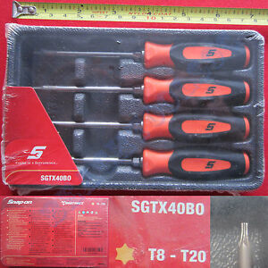 New Snap On Orange Mini Soft Grip Handle Torx Screwdriver 4 Pcs Set Sgtx40bo Usa