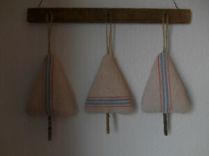 3 Antique Grainsack Primitive Christmas Tree Bowl Fillers Hangers Ornaments