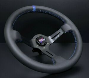 Dnd Performance Leather Race Steering Wheel 350mm With Blue Stitching Lrw bl