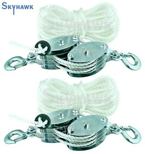 2 Set 2ton 65ft Poly Rope Hoist Pulley Wheel Block And Tackle 7 1 Lifting Ratio