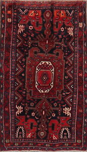 Geometric Ardebil Oriental Area Rug Hand Knotted Medallion Red Wool Carpet 4x8