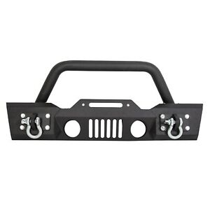 Textured Front Bumper Winch D Rings Fog Lights Hole For 07 18 Jeep Wrangler Jk L
