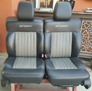 Ford F 150 Sport Factory Stitched Black Grey Leather Bucket Seats F150 Hot Rod