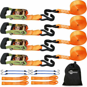 4x Ratchet Tie Down Straps 5 400lbs 4xsoft Loops 4xbungee Cord Motorcycle Cargo