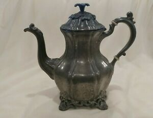 Fancy Antique Reed Barton 1766 Silver Plate Tea Pot Vintage Flower 5