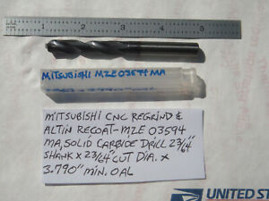 Mitsubishi Usa Cnc Regrind Altin Re coat Carbide Drill 23 64 Dia X 3 79 Oal