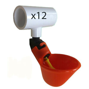 Twelve 12 Automatic Waterer Drinker Cups And Pvc Tee Fitting Chicken Poultry
