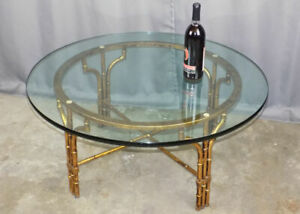Cast Faux Bamboo Glass Coffee Table Made In Spain Hollywood Regency Gold Finish