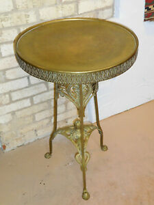 Antique French Art Nouveau Brass Plant Stand Table Circa 1910