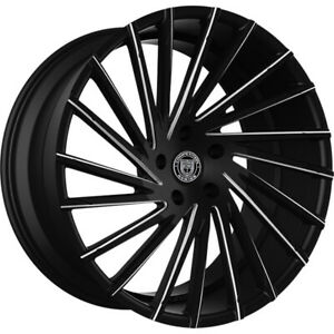 4ea 24 Lexani Wheels Wraith Black W Cnc Accents Rims s11