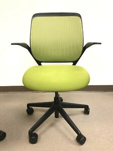 Steelcase Cobi Ergonomic Task Office Chair In Black With Wasabi green Fabric