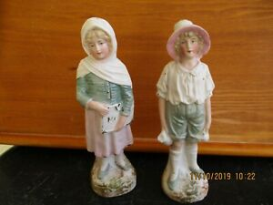 Vintage Ceramic Bisque Girl Boy Figurines Approx 7 1 2 Tall
