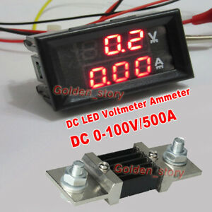 Dc 0 100v 500a Digital Led Voltmeter Ammeter Amp Volt Meter Gauge Current Shunt