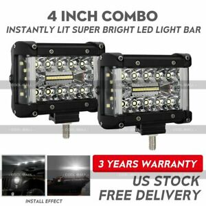 2x 4inch Side Shooter Led Work Light Bar Tri Row Spot Flood Driving Off Road