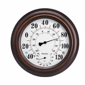 Wall Hanging Temperature And Humidity Meter Analog Mechanics Indoor Brown Home