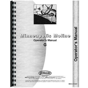New Minneapolis Moline G Tractor Operators Manual gas Only