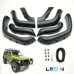 Fender Flares For 84 01 Jeep Cherokee Xj 6 Wide Pocket Style Protector 8 Pc Set