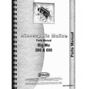 Parts Manual Made For Minneapolis Moline Tractor Model Big Mo 500