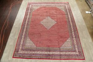 Old Geometric Botemir Area Rug Hand Knotted Wool Oriental 10x13 Room Size Carpet