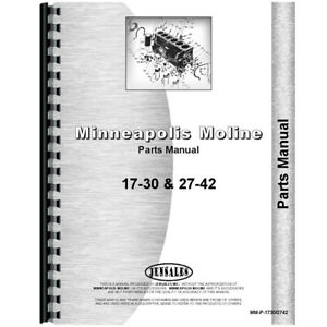New Parts Manual For Minneapolis Moline 17 30 Tractor