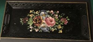 Handpainted Floral Toleware Tray Black 22x10 W Cut Out Gold Rim Signed Vtg