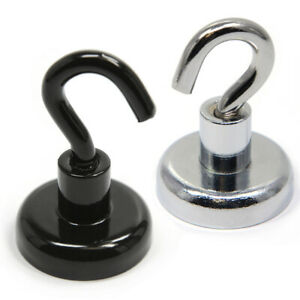 40 Lb Holding Power Neodymium Magnetic Hook 12 pc Black Or Silver