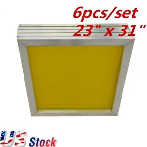 Us Stock 6 Pcs Aluminum Silk Screen Frame 200 Yellow Mesh 23 X 31