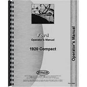 Operators Manual Fits Ford 1920 Compact Tractor