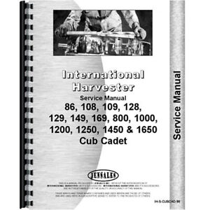 Tractor Chassis Service Manual For International Harvester Cub Cadet 1000