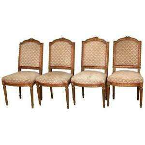 4 Antique French Louis Xvi Carved Giltwood Arm Chairs 19th C