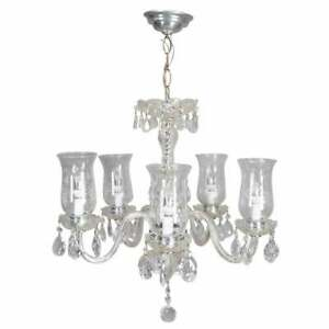 Vintage French Style Cut Crystal And Chrome 5 Arm Chandelier Circa 1950