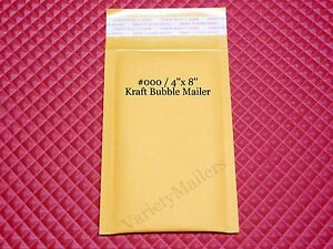 20 Small Kraft Bubble Mailers 000 4x8 Self sealing Padded Envelopes