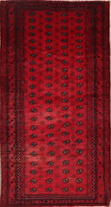 Vintage Geometric Tribal Hand Knotted Balouch Traditional Oriental Area Rug 4x8