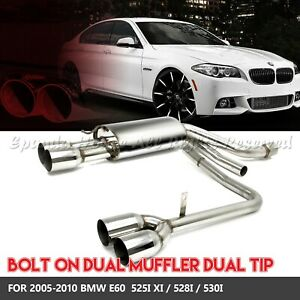 Direct Fits 05 10 Bmw E60 525 5 Series Bolt On Stainless Steel Dual Mufflers 3