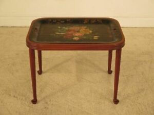 F41642c Custom Made Cherry Coffee Table W Paint Decorated Metal Tray