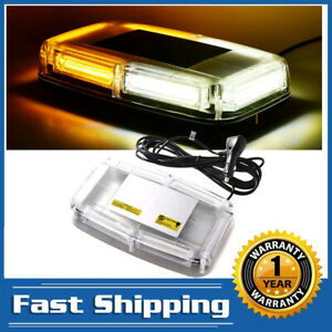 Led Emergency Flash Warning Roof Top Strobe Light 6 Cob Bar Amber White Truck Us