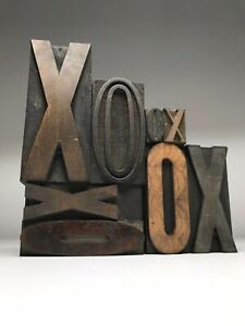 Letterpress Print Type Wood Letter x o Group 8 Pieces