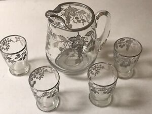 Sterling Silver Overlay Large Water Lemonade Pitcher W 4 Glasses