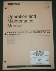 Cat Caterpillar Cp 423e Cs 433e Cs 433e Compactor Operation Maintenance Manual
