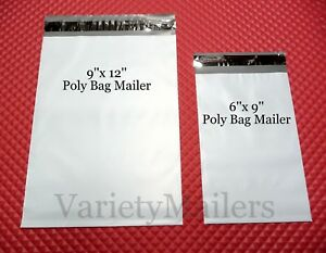 50 Poly Bag Mailer Combo 6x9 9x12 Self sealing Shipping Envelopes