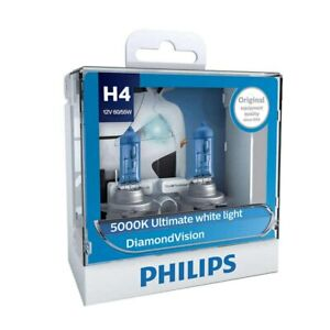 Philips H4 9003 Diamond Vision 12v 60 55w 5000k Ultimate White Light 12342dvs2