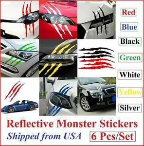 Monster Car Auto Reflective Headlight Stickers Scratch Stripe Claw Vinyl Decals
