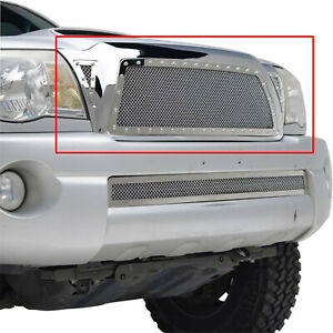 Rivet Chrome Mesh Replacement Grille Front Upper Fit For 2005 2011 Toyota Tacoma