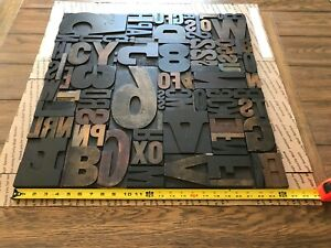 Large Letterpress Print Type Wood Letters And Numbers 80 Pieces Lot Of 80