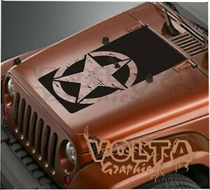 Vinyl Hood Decal Compatible With Jeep Wrangler distressed Star Blackout