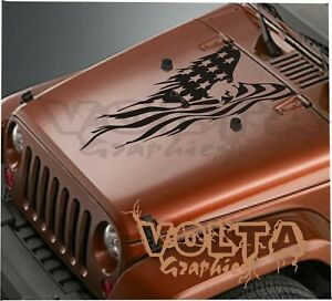 Vinyl Hood Decal Compatible With Jeep Wrangler American Flag Eagle Style 2