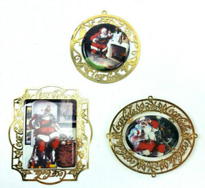 Coca-Cola Christmas Ornament Porcelain With Metal Back 90s Lot of 3